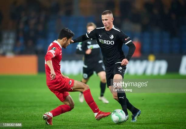 Oliver Bundgaard Kristensen of Randers FC in action during the UEFA Conference League match between Randers FC and AZ Alkmaar at Cepheus Park on...