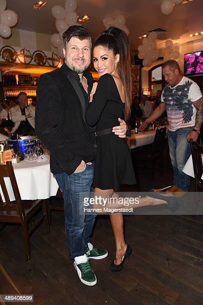 Oliver Burghart and his wife Playmate Mia Gray attend 9 Years Anniversary Bachmaier Hofbraeu at Bachmaier Hofbraeu on May 10 2014 in Munich Germany