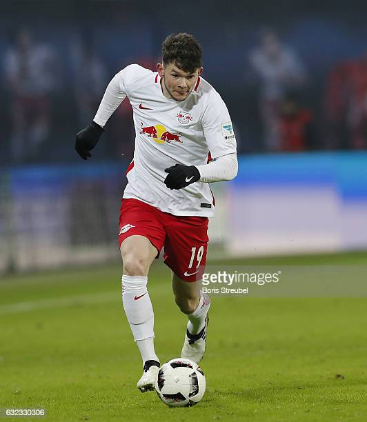 Oliver Burke of RB Leipzig runs with the ball during the Bundesliga match between RB Leipzig and Eintracht Frankfurt at Red Bull Arena on January 21...