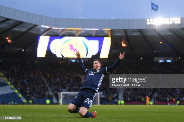 Oliver Burke of Scotland celebrates after scoring his team's first goal during the UEFA Euro 2020 Qualifier match between Scotland and Cyprus at...