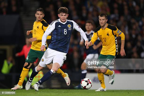 Oliver Burke of Scotland during the FIFA 2018 World Cup Qualifier between Scotland and Lithuania at Hampden Park on October 8 2016 in Glasgow Scotland
