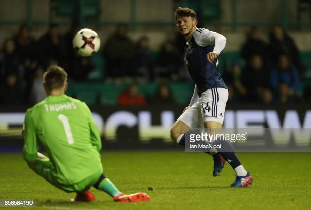 Oliver Burke of Scotland shoots at goal during the International Challenge Match between Scotland and Canada at Easter Road on March 22 2017 in...