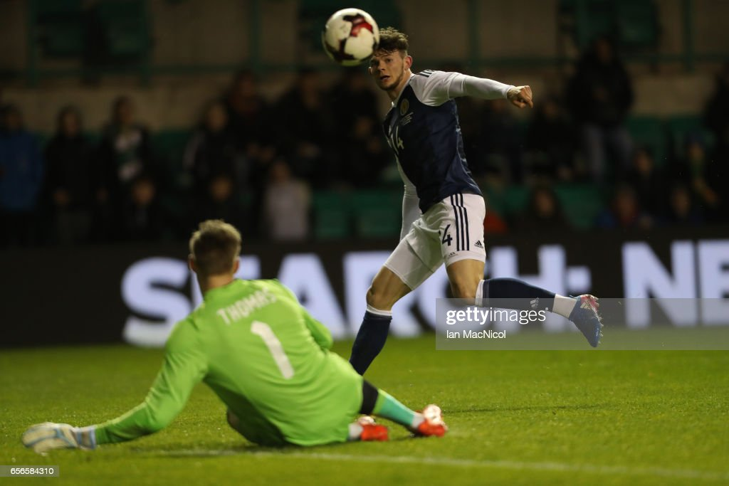 Oliver Burke of Scotland shoots at goal during the International Challenge Match between Scotland and Canada at Easter Road on March 22, 2017 in Edinburgh, Scotland.