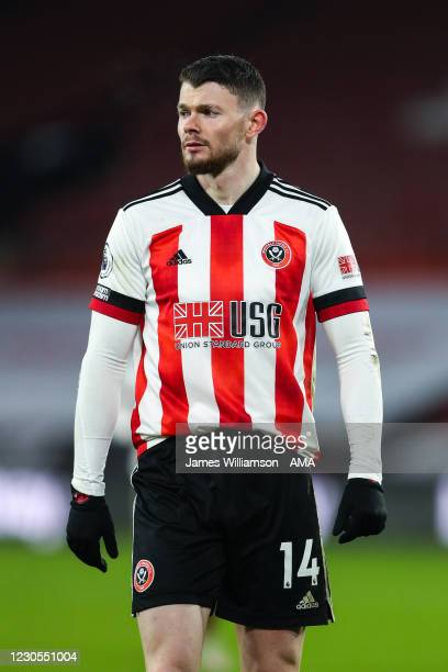 Oliver Burke of Sheffield United during the Premier League match between Sheffield United and Newcastle United at Bramall Lane on January 12, 2021 in...