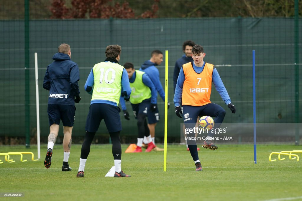 Oliver Burke of West Bromwich Albion during training on December 19, 2017 in West Bromwich, England.