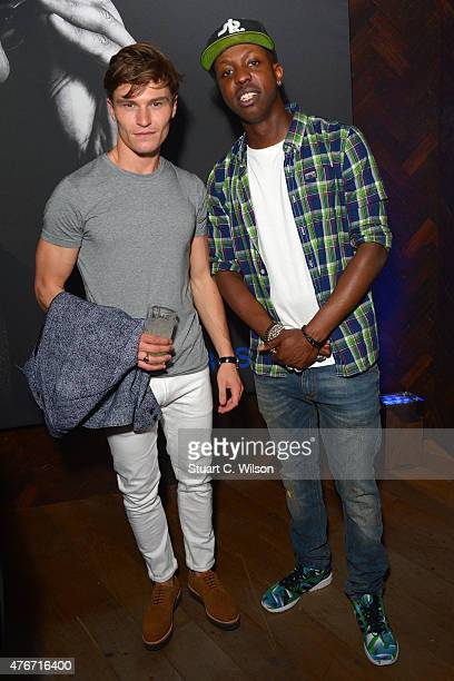 Oliver Cheshire and Jamal Edwards arrive for The Official Idris Elba Superdry Presentation at LCM Superdry International Showroom on June 11 2015 in...