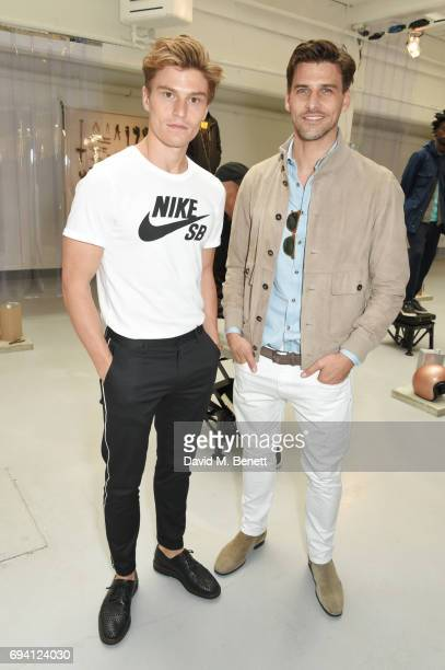 Oliver Cheshire and Johannes Huebl attend the Barbour International presentation during the London Fashion Week Men's June 2017 collections on June 9...