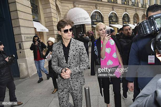 Oliver Cheshire and Pixie Lott are seen arriving at Schiaparelli Fashion show during Paris Fashion Week Haute Couture F/W 20172018 on January 23 2017...
