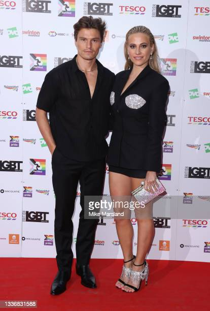 Oliver Cheshire and Pixie Lott attend the British LGBT Awards 2021 at The Brewery on August 27, 2021 in London, England.