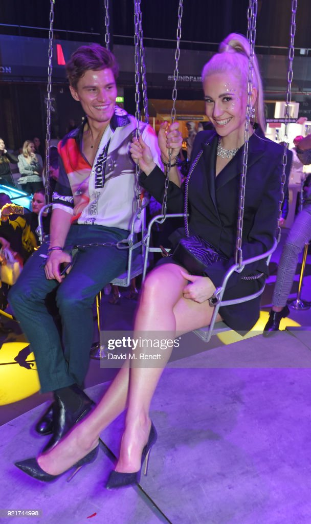Oliver Cheshire (L) and Pixie Lott attend the Naked Heart Foundation's Fabulous Fund Fair at The Roundhouse on February 20, 2018 in London, England.
