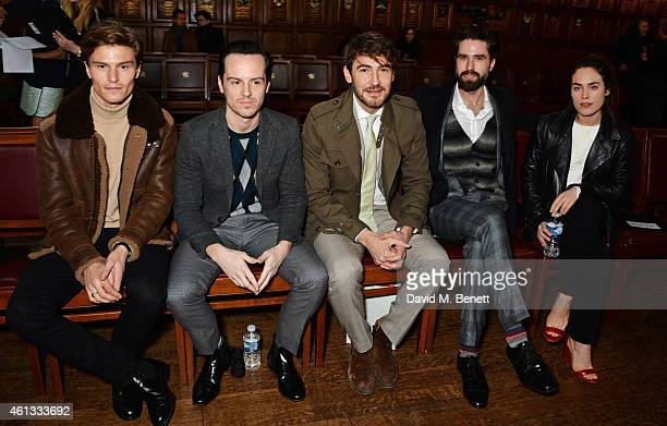 Oliver Cheshire Andrew Scott Robert Konjic Jack Guinness and Tallulah Harlech attend the Pringe Of Scotland Autumn/Winter 2014 menswear runway show...