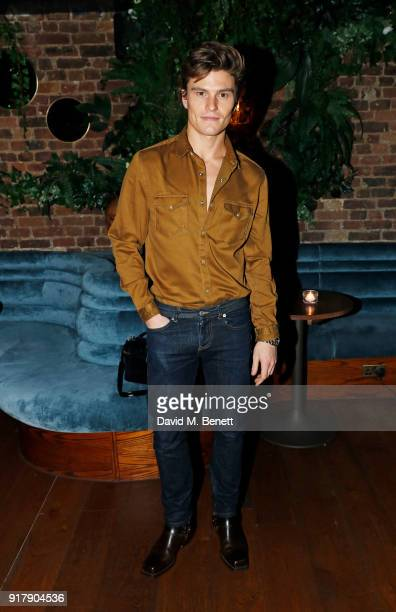Oliver Cheshire attends a Valentine's dinner at The Living Room Champagne and Cocktail Bar by PerrierJouet at Restaurant Ours on February 13 2018 in...