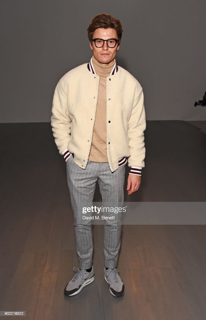 Oliver Cheshire attends the Christopher Raeburn show during London Fashion Week Men's January 2018 at BFC Show Space on January 7, 2018 in London, England.