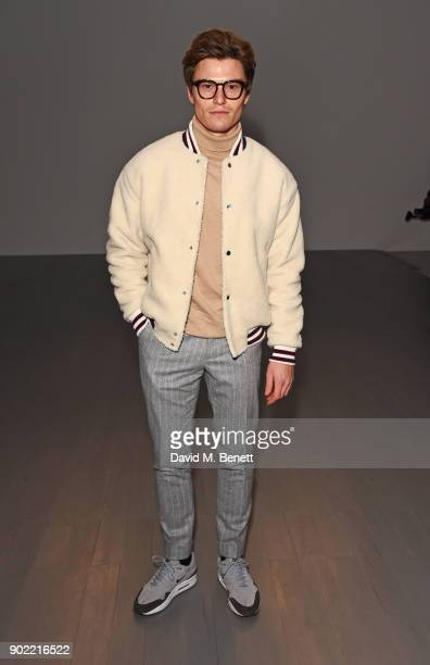 Oliver Cheshire attends the Christopher Raeburn show during London Fashion Week Men's January 2018 at BFC Show Space on January 7, 2018 in London,...