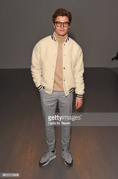 Oliver Cheshire attends the Christopher Raeburn show during London Fashion Week Men's January 2018 at BFC Show Space on January 7 2018 in London...