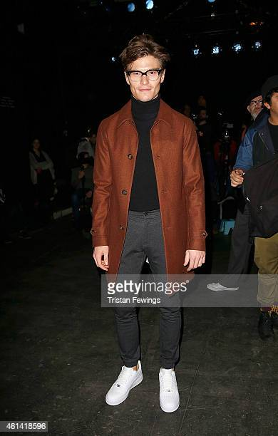 Oliver Cheshire attends the ETautz show at the London Collections Men AW15 at on January 12 2015 in London England