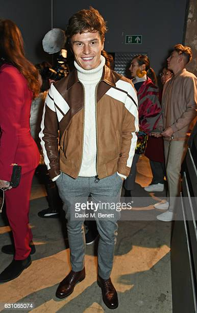 Oliver Cheshire attends the TOPMAN DESIGN show during London Fashion Week Men's January 2017 collections at the Topman Show Space on January 6 2017...