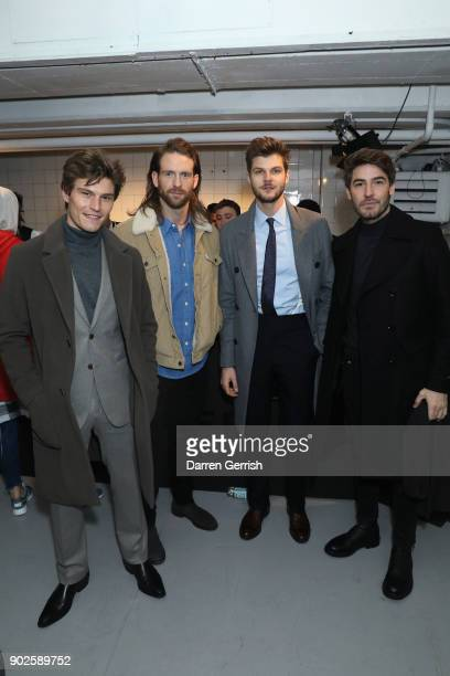 Oliver Cheshire Craig McGinlay Jim Chapman and Robert Konjic attend the Belstaff AW18 Mens Womens Presentation during London Fashion Week Men's...