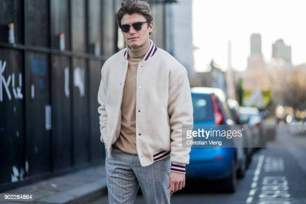 Oliver Cheshire during London Fashion Week Men's January 2018 on January 7 2018 in London England