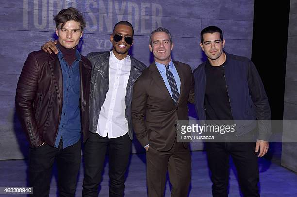 Oliver Cheshire Eric West Andy Cohen and Jesse Metcalfe attend the Todd Snyder fashion show during MercedesBenz Fashion Week Fall 2015 at The...