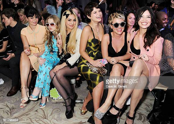 Oliver Cheshire Gizzi Erskine Anais Gallagher Zara Martin Pixie Geldof Jaime Winstone and Daisy Lowe attend the Moschino cheapchic show during London...