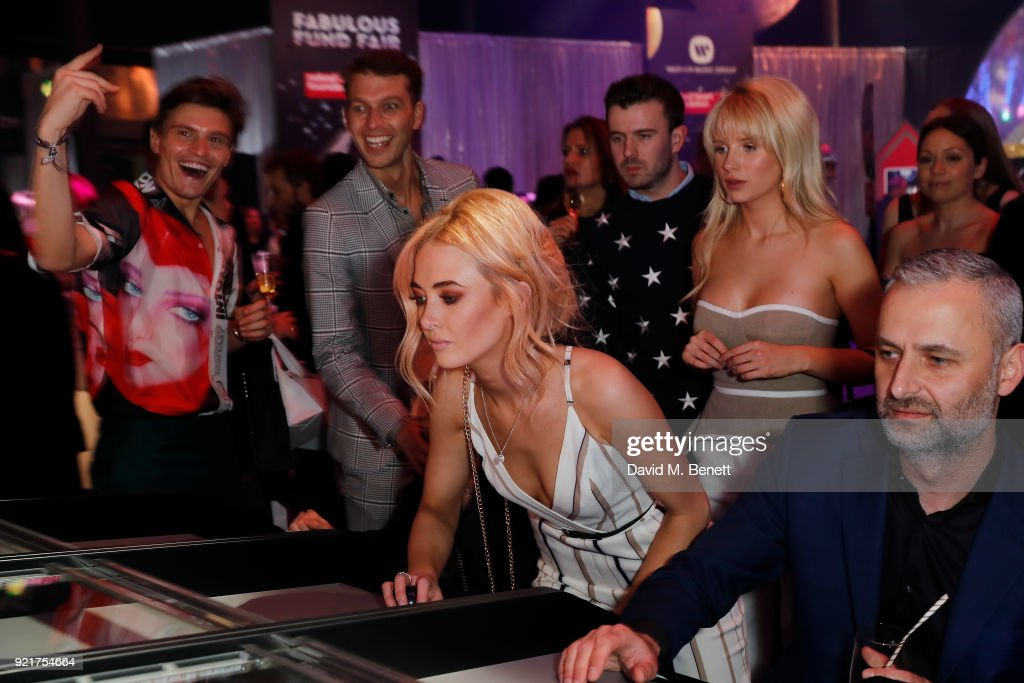 Oliver Cheshire, Guest, Pixie Lott, Nicola Hughes guest and Lottie Moss at the Naked Heart Foundation's Fabulous Fund Fair in London at The Roundhouse on February 20, 2018 in London, England.