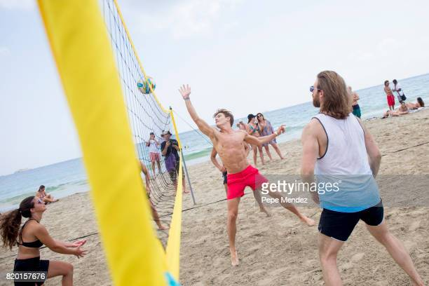 Oliver Cheshire is seen playing volleyball during Global Gift Gala Party at Hard Rock Hotel Ibiza on July 21 2017 in Ibiza Spain