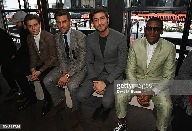 Oliver Cheshire Johannes Huebl Robert Konjic and Labrinth attend the Richard James show front row during The London Collections Men AW16 at Sartoria...