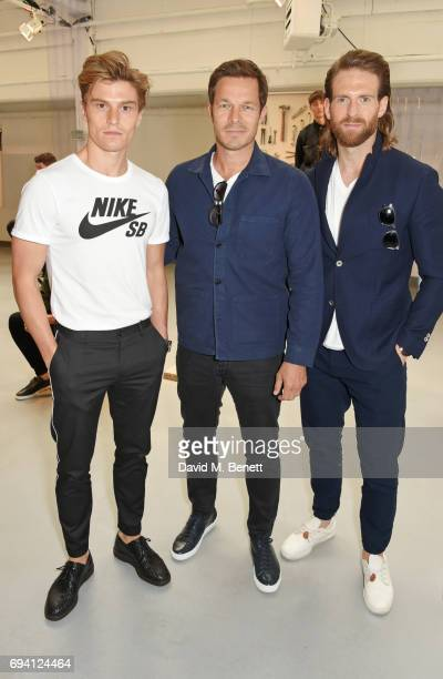 Oliver Cheshire Paul Sculfor and Craig McGinlay attend the Barbour International presentation during the London Fashion Week Men's June 2017...