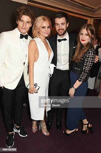 Oliver Cheshire, Pixie Lott, Jack Whitehall and Molly Whitehall attend a drinks reception at the British Fashion Awards in partnership with Swarovski...