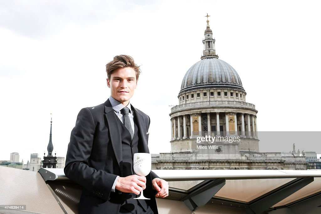 Oliver Cheshire poses at the launch of Moet Ice Imperial Summer Terrace Pop Up at Madison Rooftop Bar on May 26, 2015 in London, England.