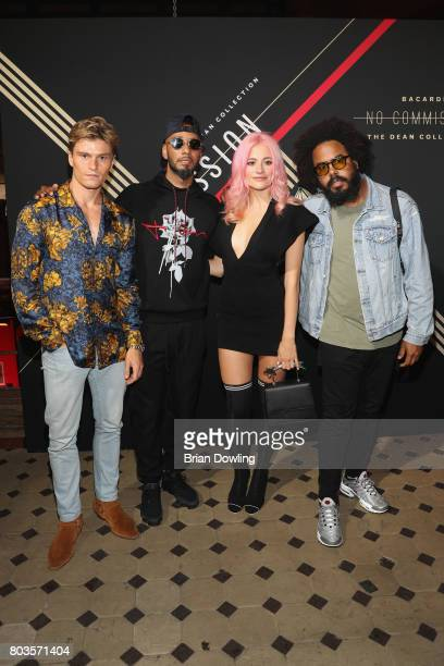 Oliver Cheshire Swizz Beatz Pixie Lott and Jillionaire of Major Lazer attend Bacardi X The Dean Collection Present No Commission Berlin on June 29...