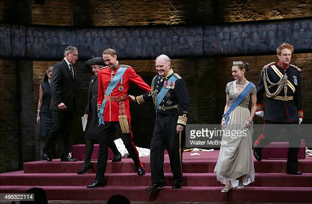 Oliver Chris Tim PigottSmith Lydia Wilson and Richard Goulding with cast during the Broadway opening night performance curtain call bows for 'King...