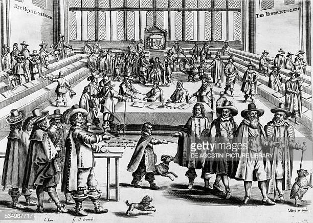 Oliver Cromwell dissolving parliament engraving England 17th century London British Museum