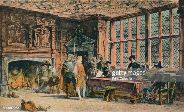 Oliver Cromwell trying a prisoner during the defence of Banbury The Globe Room of Ye Olde Reine Deer Inn Banbury' It is believed that the Globe Room...