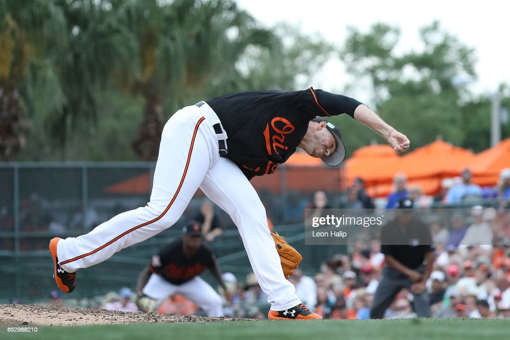 Oliver Drake #71 of the Baltimore Orioles pitches during the seventh inning of the Spring Training Game against the Philadelphia Phillies on March 13, 2017 at Ed Smith Stadium in Sarasota, Florida. Baltimore defeated Philadelphia Phillies 6-4.