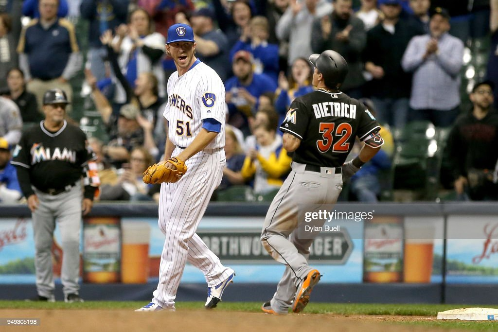 Oliver Drake #51 of the Milwaukee Brewers celebrates after forcing out Derek Dietrich #32 of the Miami Marlins to beat the Miami Marlins 8-0 at Miller Park on April 20, 2018 in Milwaukee, Wisconsin.