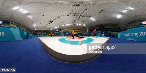 Oliver Dupont of Denmark delivers a stone during a Curling training session at the Gangneung Curling Centre on February 13 2018 in Pyeongchanggun...