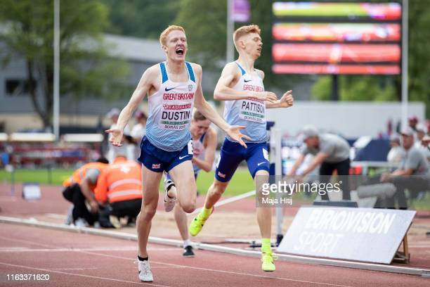 Oliver Dustin Ben Pattison and Finley Mclear of Great Britain cross the finish line during 800m Men Final on July 21 2019 in Boras Sweden