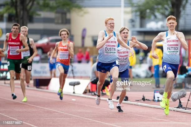 Oliver Dustin, Ben Pattison and Finley Mclear of Great Britain cross the finish line during 800m Men Final on July 21, 2019 in Boras, Sweden.