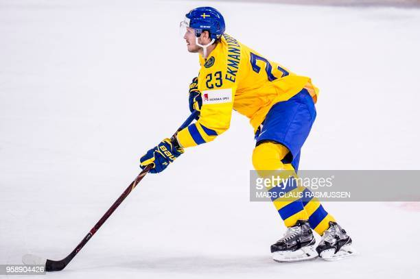 Oliver EkmanLarsson of Sweden plays during the group A match Russia v Sweden of the 2018 IIHF Ice Hockey World Championship at the Royal Arena in...
