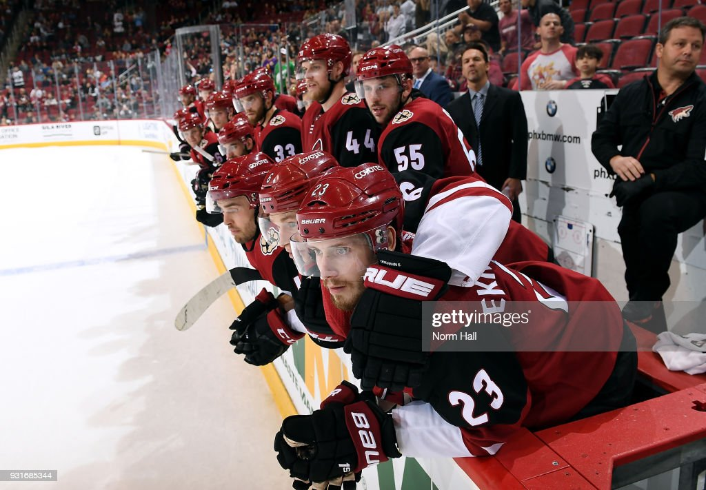 Oliver Ekman-Larsson #23 of the Arizona Coyotes and his teammates watch during the overtime shootout against the Los Angeles Kings at Gila River Arena on March 13, 2018 in Glendale, Arizona.