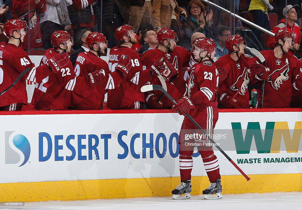 Oliver Ekman-Larsson #23 of the Arizona Coyotes celebrates with teammates on the bench after scoring a third period goal against the Detroit Red Wings during the NHL game at Gila River Arena on February 7, 2015 in Glendale, Arizona. The Red Wings defeated the Coyotes 3-1.