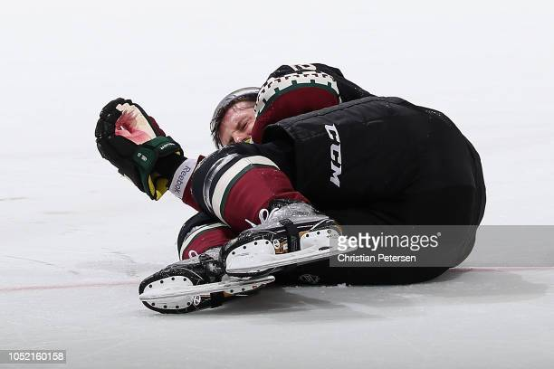 Oliver EkmanLarsson of the Arizona Coyotes falls to the ice during the third period of the NHL game against the Buffalo Sabres at Gila River Arena on...