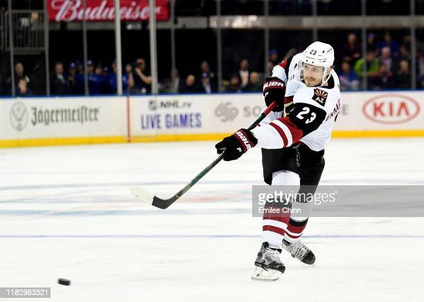 Oliver EkmanLarsson of the Arizona Coyotes makes a pass during their game against the New York Rangers at Madison Square Garden on October 22 2019 in...