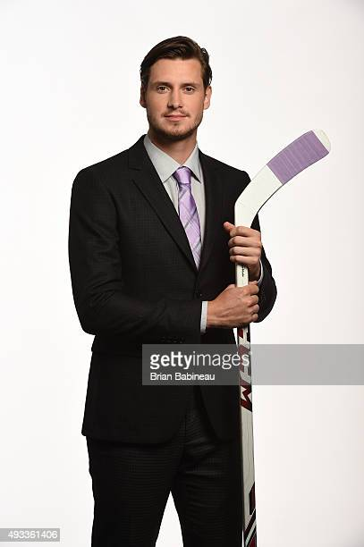 Oliver EkmanLarsson of the Arizona Coyotes poses for a portrait at the NHL Player Media Tour at the Ritz Carlton on September 8 2015 in Toronto...