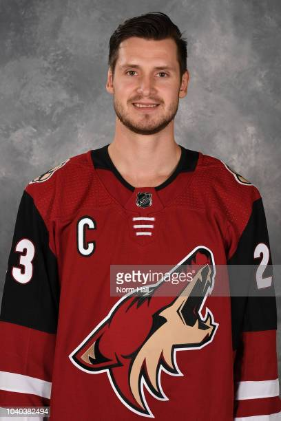 Oliver EkmanLarsson of the Arizona Coyotes poses for his official headshot for the 20182019 season at Gila River Arena on September 13 2018 in...