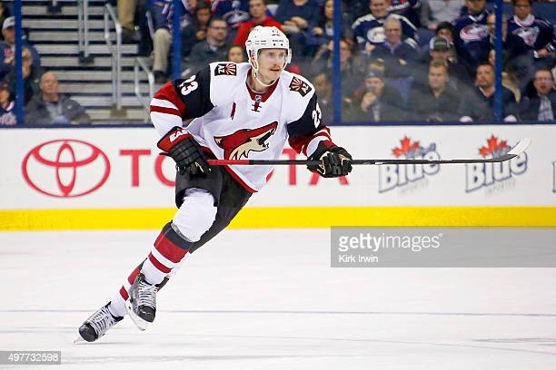 Oliver EkmanLarsson of the Arizona Coyotes skates after the puck during the game against the Columbus Blue Jackets on November 14 2015 at Nationwide...