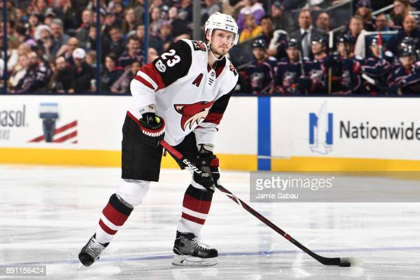 Oliver EkmanLarsson of the Arizona Coyotes skates against the Columbus Blue Jackets on December 9 2017 at Nationwide Arena in Columbus Ohio