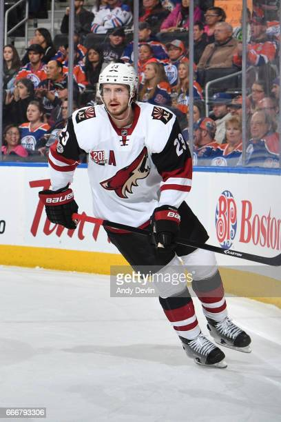 Oliver EkmanLarsson of the Arizona Coyotes skates during the game against the Edmonton Oilers on January 16 2017 at Rogers Place in Edmonton Alberta...